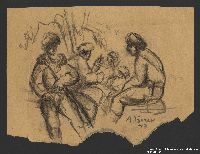 2005.181.99 front Drawing by Alexander Bogen of five partisans sitting by a tree  Click to enlarge