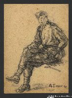 2005.181.100 front Seated portrait of a partisan in uniform, drawn by Alexander Bogen  Click to enlarge
