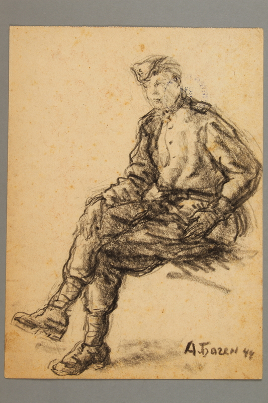 2005.181.100 front Seated portrait of a partisan in uniform, drawn by Alexander Bogen