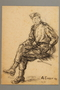 Seated portrait of a partisan in uniform, drawn by Alexander Bogen