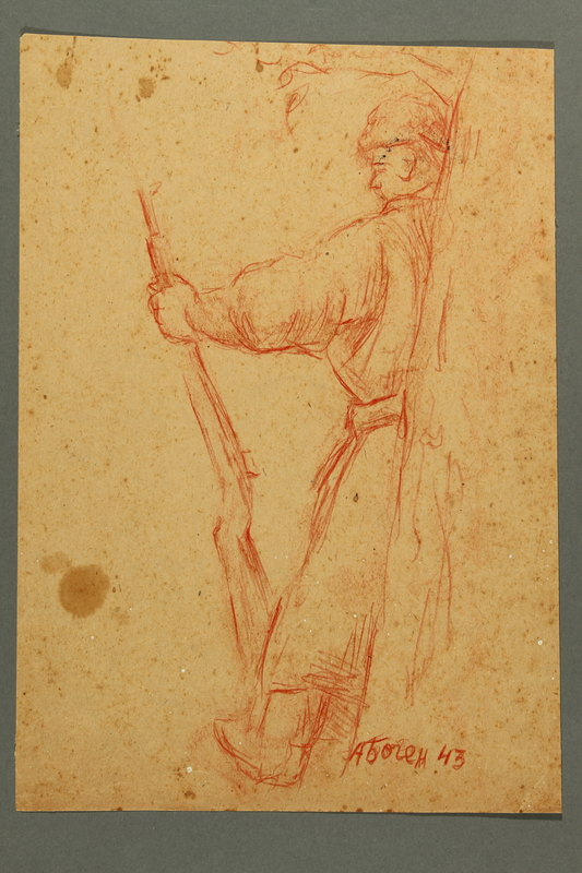 2005.181.101 front Drawing by Alexander Bogen of an armed partisan standing with his back against a tree