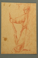 2005.181.101 front Drawing by Alexander Bogen of an armed partisan standing with his back against a tree  Click to enlarge