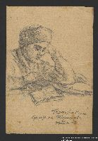 2005.181.102 front Drawing by Alexander Bogen of a man sitting at a table reading a book  Click to enlarge