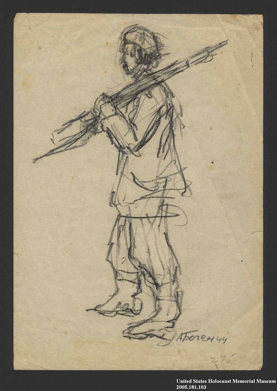 2005.181.103 front Drawing by Alexander Bogen of a partisan walking with a rifle on his shoulder