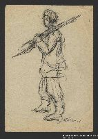 2005.181.103 front Drawing by Alexander Bogen of a partisan walking with a rifle on his shoulder  Click to enlarge