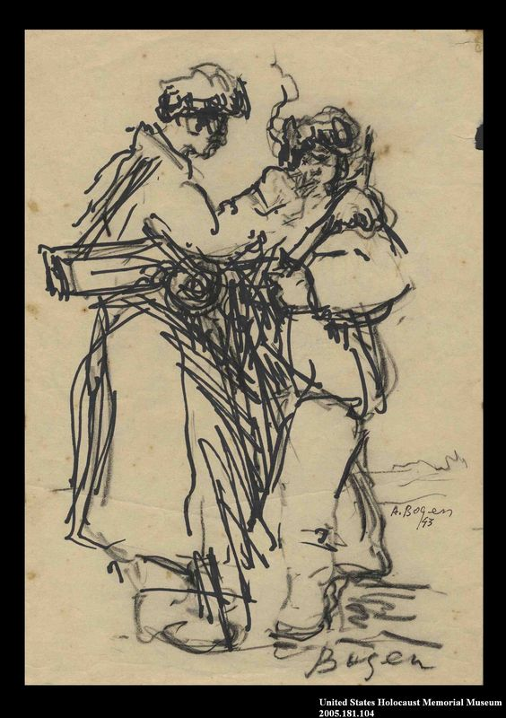 2005.181.104 front Drawing by Alexander Bogen of two partisans standing together, one lighting the other's cigarette