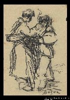 2005.181.104 front Drawing by Alexander Bogen of two partisans standing together, one lighting the other's cigarette  Click to enlarge