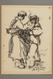 Drawing by Alexander Bogen of two partisans standing together, one lighting the other's cigarette