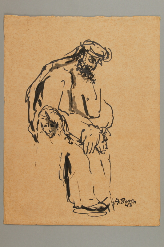 2005.181.105 front Drawing by Alexander Bogen of a woman and a bearded man