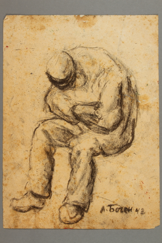 2005.181.107 front Drawing by Alexander Bogen of a man sitting with his head bowed