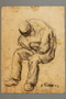 Drawing by Alexander Bogen of a man sitting with his head bowed