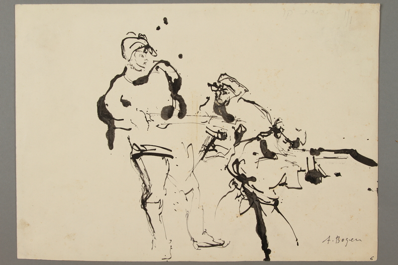 2005.181.108 front Drawing by Alexander Bogen of two partisans, one standing and one crouching