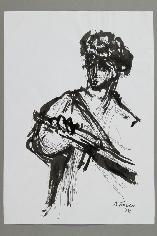 2005.181.109 front Drawing by Alexander Bogen of a partisan with a rifle