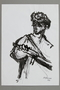 Drawing by Alexander Bogen of a partisan with a rifle