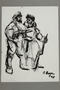 Drawing by Alexander Bogen of two armed partisans standing together