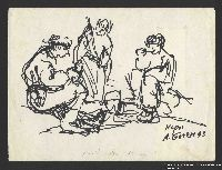 2005.181.111 front Drawing by Alexander Bogen of three partisans eating around a camp stove  Click to enlarge