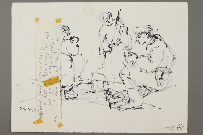 2005.181.111 back Drawing by Alexander Bogen of three partisans eating around a camp stove