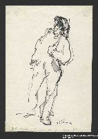 2005.181.112 front Drawing by Alexander Bogen of a partisan standing with a rifle  Click to enlarge