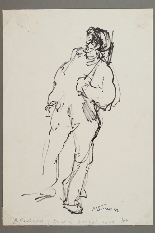 2005.181.112 front Drawing by Alexander Bogen of a partisan standing with a rifle