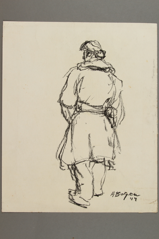 2005.181.113 front Drawing by Alexander Bogen of a partisan walking