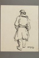 2005.181.113 front Drawing by Alexander Bogen of a partisan walking  Click to enlarge