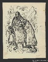2005.181.117 front Drawing by Alexander Bogen of an old man, a woman holding a baby, and a little girl standing before a scene of flames and destroyed buildings  Click to enlarge