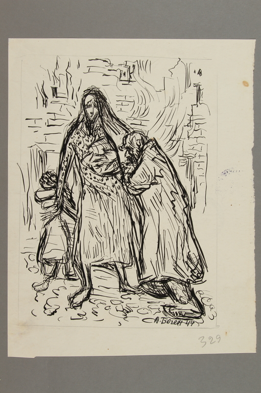 2005.181.117 front Drawing by Alexander Bogen of an old man, a woman holding a baby, and a little girl standing before a scene of flames and destroyed buildings
