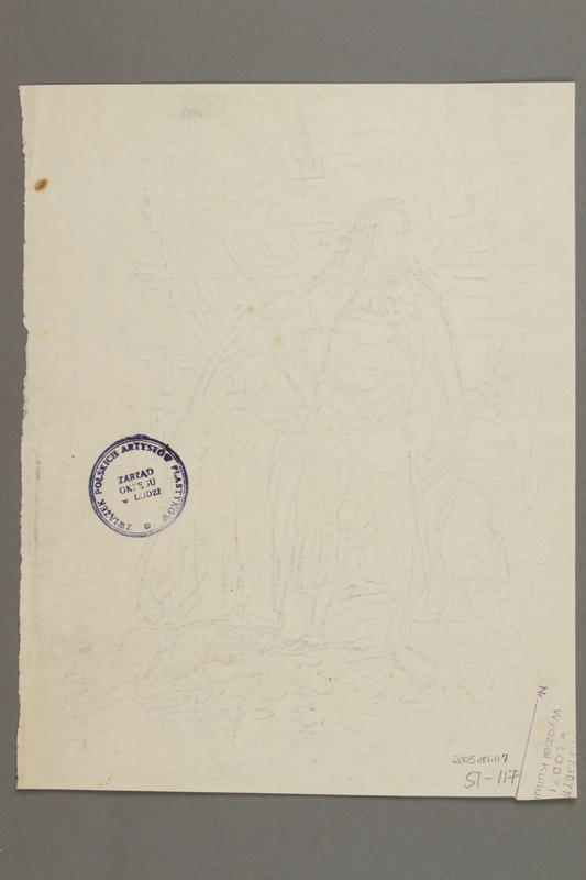 2005.181.117 back Drawing by Alexander Bogen of an old man, a woman holding a baby, and a little girl standing before a scene of flames and destroyed buildings