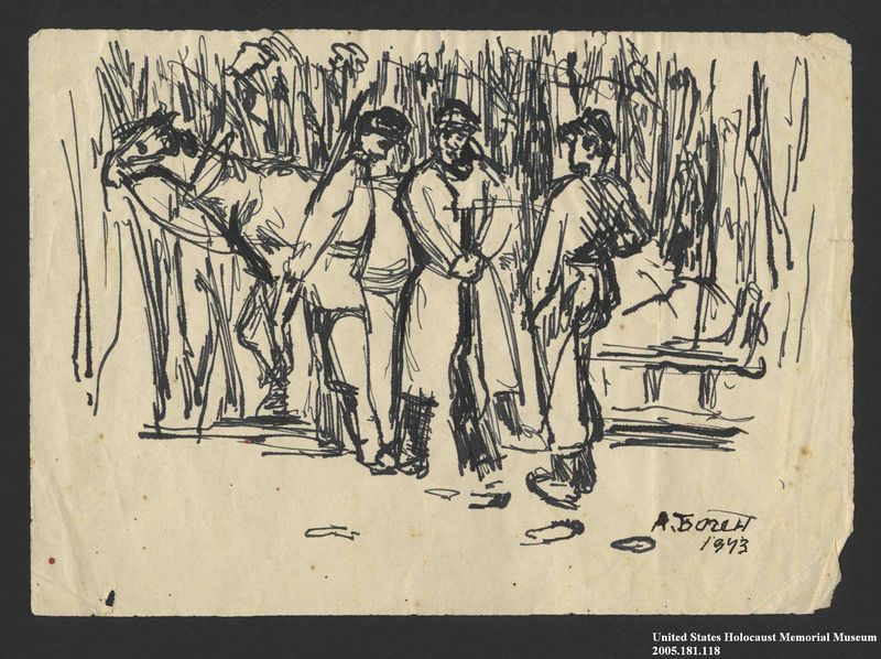 2005.181.118 front Drawing by Alexander Bogen of three partisans standing by a horse harnessed to a sledge