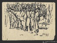 2005.181.118 front Drawing by Alexander Bogen of three partisans standing by a horse harnessed to a sledge  Click to enlarge