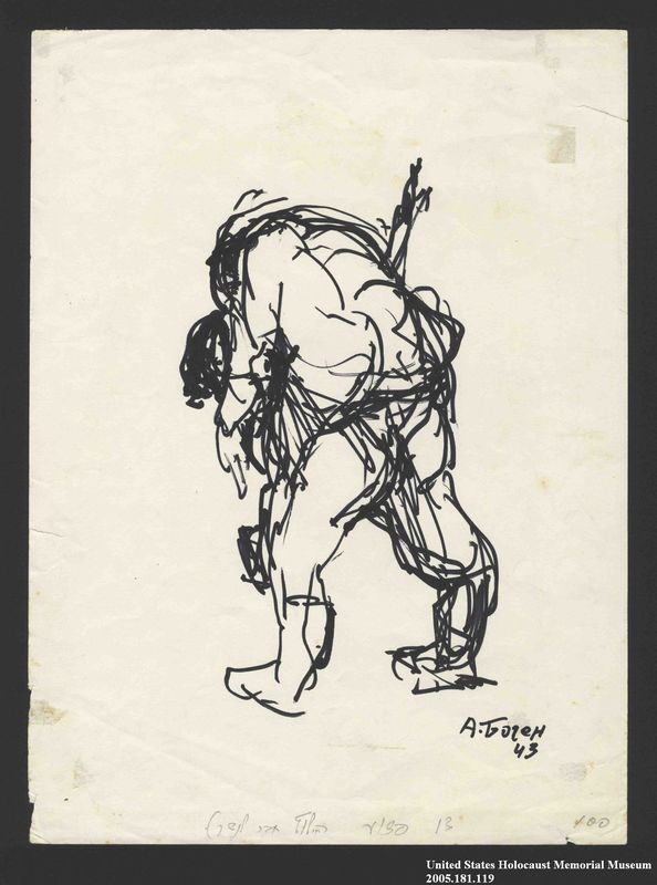 2005.181.119 front Drawing by Alexander Bogen of a man carrying another man on his back
