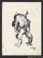 2005.181.119 front Drawing by Alexander Bogen of a man carrying another man on his back  Click to enlarge