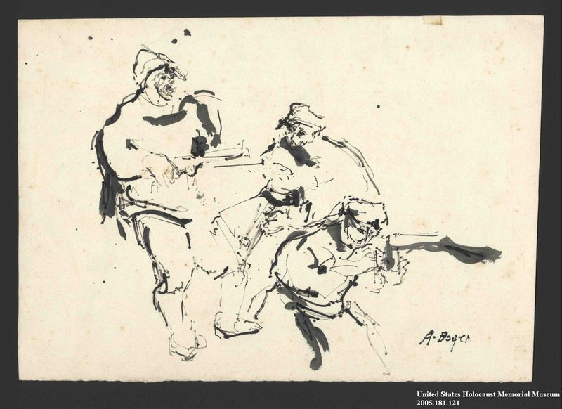 2005.181.121 front Drawing by Alexander Bogen of three partisans