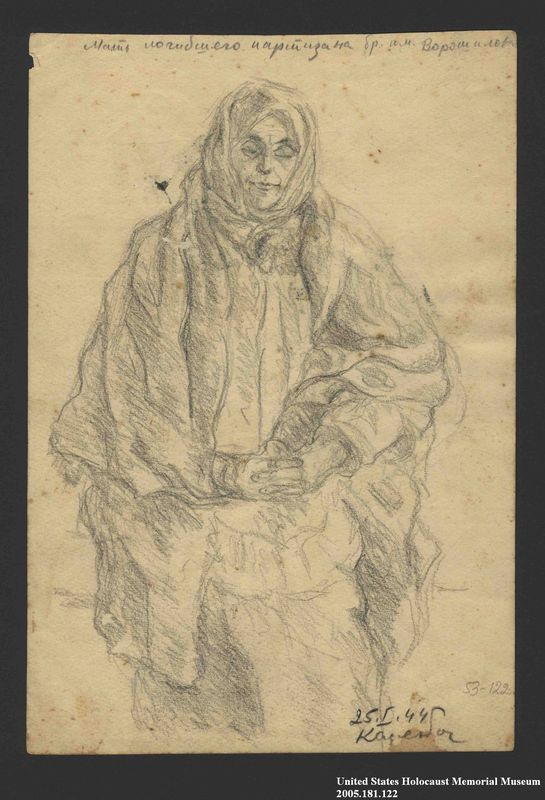 2005.181.122 front Drawing by Alexander Bogen of an old woman in a shawl standing with her hands folded