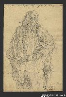 2005.181.122 front Drawing by Alexander Bogen of an old woman in a shawl standing with her hands folded  Click to enlarge