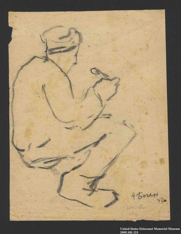 2005.181.123 front Drawing by Alexander Bogen of a partisan sitting and eating