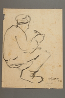 2005.181.123 front Drawing by Alexander Bogen of a partisan sitting and eating  Click to enlarge