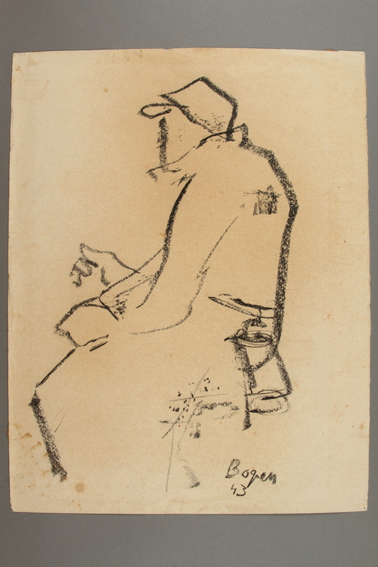 2005.181.124 front Drawing by Alexander Bogen of a seated man with a hat