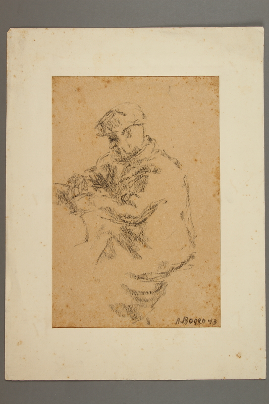 2005.181.125 front Drawing by Alexander Bogen of a man sitting at a table reading