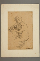 2005.181.125 front Drawing by Alexander Bogen of a man sitting at a table reading  Click to enlarge
