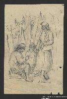 2005.181.126 front Drawing by Alexander Bogen of a woman sitting outdoors and working with her hands as two women stand and watch  Click to enlarge
