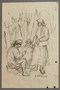 Drawing by Alexander Bogen of a woman sitting outdoors and working with her hands as two women stand and watch