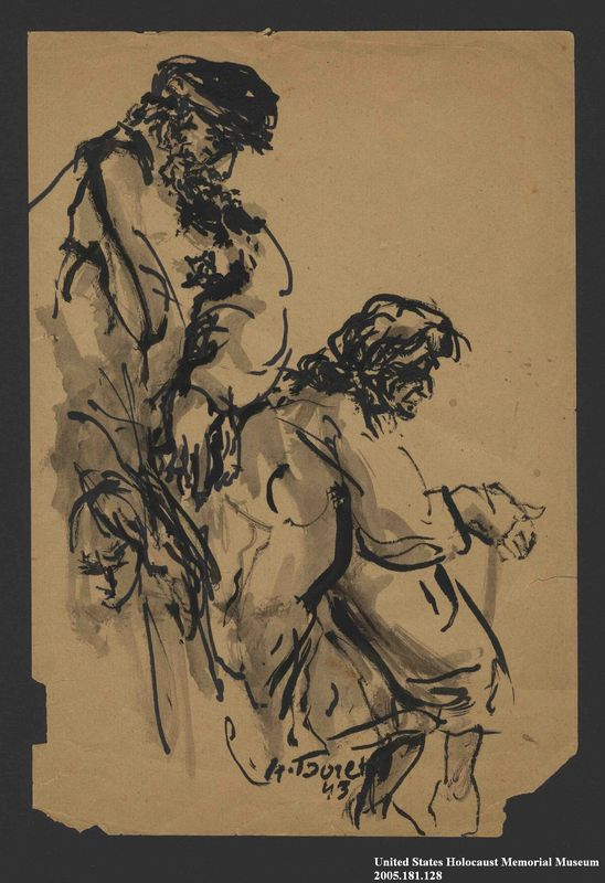 2005.181.128 front Drawing by Alexander Bogen of a woman sitting with a man standing behind her, both with their heads bowed
