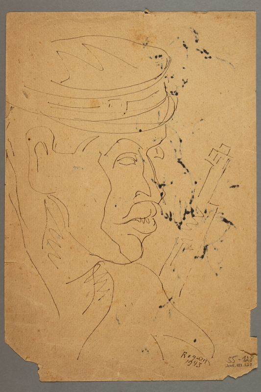 2005.181.128 back Drawing by Alexander Bogen of a woman sitting with a man standing behind her, both with their heads bowed