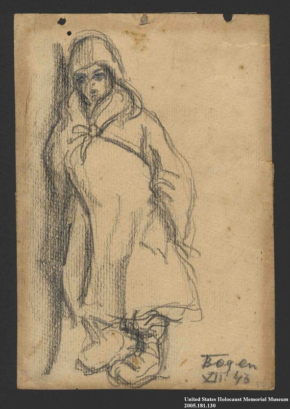 2005.181.130 front Drawing by Alexander Bogen of a child in a hooded cloak leaning against a wall