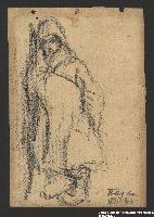 2005.181.130 front Drawing by Alexander Bogen of a child in a hooded cloak leaning against a wall  Click to enlarge