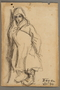 Drawing by Alexander Bogen of a child in a hooded cloak leaning against a wall
