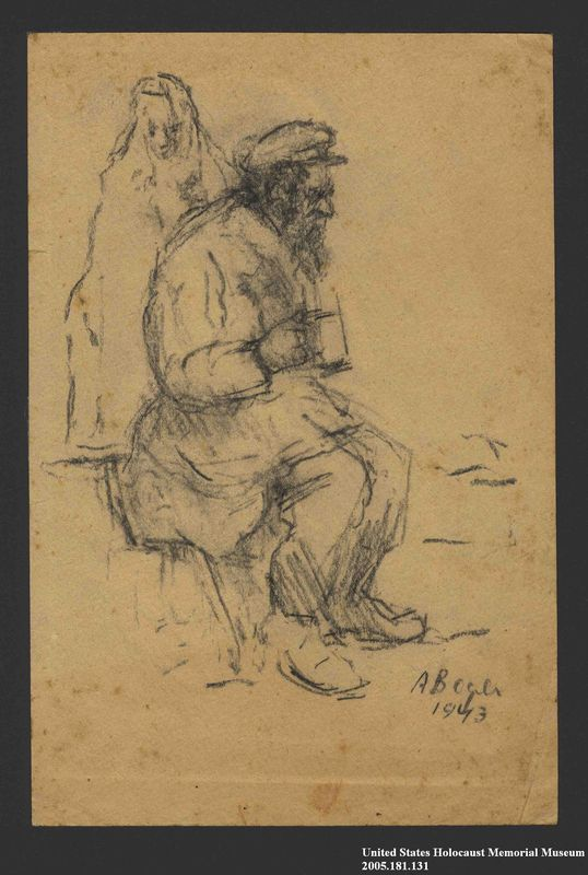 2005.181.131 front Drawing by Alexander Bogen of a man wearing a six-pointed star, sitting and holding a cup, with another person standing behind him