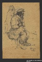 2005.181.131 front Drawing by Alexander Bogen of a man wearing a six-pointed star, sitting and holding a cup, with another person standing behind him  Click to enlarge