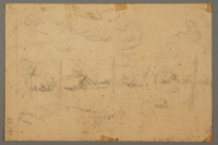 2005.181.131 back Drawing by Alexander Bogen of a man wearing a six-pointed star, sitting and holding a cup, with another person standing behind him  Click to enlarge
